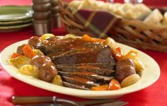 Bloody Mary Pot Roast - The flavors of tomato juice, Worcestershire and hot pepper sauce simmer right into this tender pot roast. Perfect for a weekend supper!