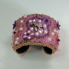Pink Fusion Bead Embroidered Cuff pink fushia by AngelqueCreations, $175.00