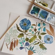 Painting my blues away. Folk Art Flowers, Flower Art, Plant Illustration, Botanical Illustration, Watercolor Flowers, Watercolor Paintings, Watercolors, Botanical Art, Art Techniques