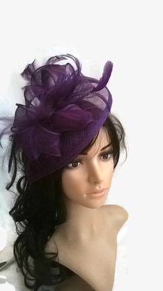 Purple Fascinator ..Sinamay and  Feather by SpecialDayfascinator