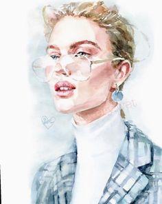 watercolor art by Wallpaper Wall, Watercolor Wallpaper, Watercolor Portraits, Watercolor Paintings, Portrait Art, Watercolor Illustration, Design Art, Art Drawings, Mental Illness
