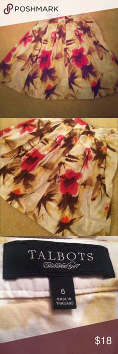 Talbots Pleated Floral Skirt A nicely styled Talbots skirt!! A pretty floral dress that gives an artistic feel. Has side zipper.  Always in style!! A skirt perfect for the summer ;) !! Talbots Skirts