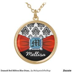 Damask Red Ribbon Blue Diamond Monogram And Name Round Pendant Necklace