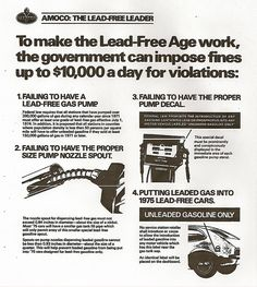 Ad describes federal law requiring gas stations to offer unleaded gasoline and prohibitions on pumping leaded gas into a vehicle with a catalytic converter, and consequences to station owners.     Where to get free leads mlm leads buyer leads business opportunity Learn more at http://www.freecash-network.com