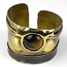 Gold Tiger Eye Statement Cuff - Brass Images (C)