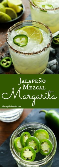Jalapeno Mezcal Margarita from afarmgirlsdabbles.com - Smoky mezcal is infused with fresh jalapeno for a bold and spicy margarita, all in a chili salt rimmed glass