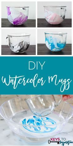These mugs are so pretty! All supplies from the Dollar Tree! Click through for the super easy tutorial!