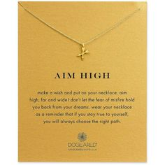 Dogeared Aim High 14K Gold Pendant Necklace ($58) ❤ liked on Polyvore featuring jewelry, necklaces, gold, gold pendant necklace, dogeared necklace, gold necklace, cross pendant necklace and yellow gold cross necklace