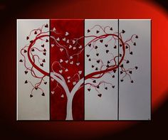 Red Heart Love Tree Painting Red and White Modern Abstract Art Large 48x36 Wedding Anniversary Gift CUSTOM. $365.00, via Etsy.