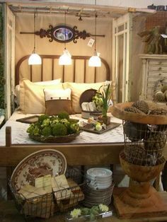 doors as arbor over bed- books in basket