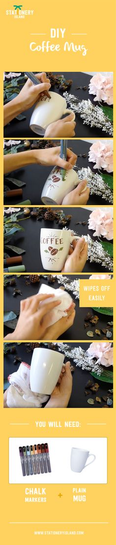 Stationery Island DIY | Wet Wipe Liquid Chalk Pens - GET CREATIVE and decorate your mugs with our erasable markers!!