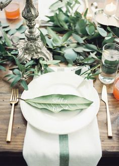It's the details that make all the difference! Place cards with elegant green accents will show guests you've thought of everything. 10 Simple Yet Stunning Ways To Use Greenery In Your Wedding