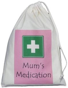 MUM S MEDICATION - SMALL NATURAL COTTON DRAWSTRING BAG - First Aid Storage MUM S MEDICATION Small Drawstring Bag Designed and printed by The Cotton
