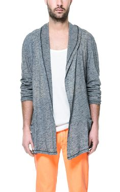 I love this and the pant color. MICRO-STRIPE CARDIGAN - Sweatshirts - Man - ZARA United States