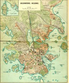 Map of Helsinki, Finland Helsinki, Uppsala, All World Map, Map Globe, Travel Illustration, Old Maps, City Maps, Historical Maps, Tattoo Blog