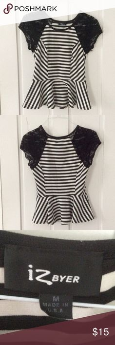Striped peplum shirt Black and white striped peplum shirt with black lace sleeves, super comfortable only worn twice! Make an offer ! Tops