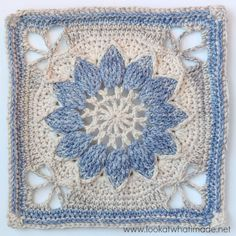 This is the photo tutorial for part 1 (of 3) of Charlotte. Charlotte is a large crochet square with a delicate vintage feel. In this part, the large central overlay flower is framed by a delicate lacy