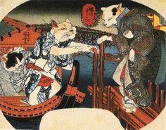 Cats cool off (Neko no suzumi) / Utagawa Kuniyoshi (Japanese Ukiyo-e Printmaker… Japanese Animals, Japanese Cat, Illustrations, Illustration Art, Neko, Asian Cat, Japanese Woodcut, Japanese Folklore, Kuniyoshi