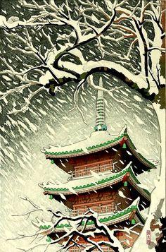 """""""Día de nieve"""" (ca. 1950), de Okazaki Shintaro (1886-1957)."""