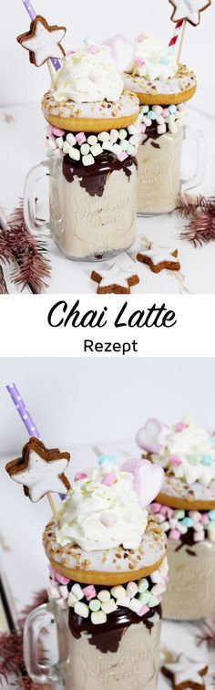 Chai latte recipe for winter freak shakes: how it works! - Chai Latte Recipe for Christmas Freakshakes Perfect for sweetening the cloudy November with winter - Smoothie Drinks, Smoothie Recipes, Smoothies, Smoothie Mixer, Yummy Drinks, Yummy Food, Milk Shakes, Mozarella, Latte Recipe