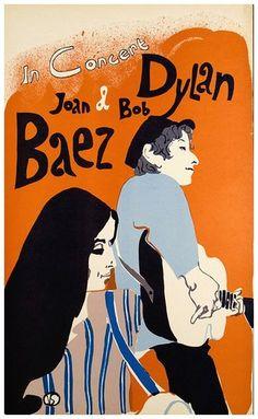 Bob Dylan Joan Baez Vintage Concert Poster Free Shipping | eBay