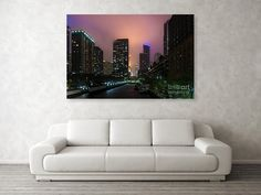 Colorful Chicago Storm Canvas Print / Canvas Art by Jennifer White Timeless Moments Photography. Here comes the rain! A storm brews in the sky over Chicago River in Chicago Illinois, United States. Available as prints, home decor, gifts and more. Chicago Storm, Chicago River, Chicago Art, Chicago Illinois, Chicago Photography, Types Of Photography, Night Photography, Fine Art Photography, Stretched Canvas Prints
