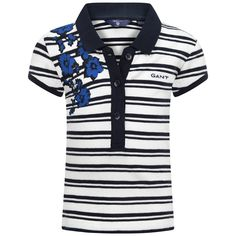 Gant Girls Navy Striped Polo Top With Flower Print
