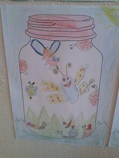 Ik heb deze (super leuke!) tekenopdracht uitgevoerd met groep 3&4! Ik heb de leerlingen verteld dat ze 'op jacht' gingen naar insecten. Op internet had ik verschillende downloads gevonden van glazen potten. Ik heb er één afgedrukt en gekopieerd.Via het digibord liet ik dekinderen een voorbeeld zien.Het uiteindelijke resultaat vind ik echt fantastisch! Klik hier … Art Lessons For Kids, Art For Kids, Creative Teaching, Creative Art, Wax Crayon Art, Summer Decoration, Doodle Drawing, Group Art Projects, Primary School Teacher