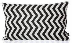 """Ferm Living Cuscino """"NERO ZIG ZAG"""" dal cotone biologico, nero / bianco, 60x40cm"""