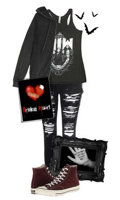 """""""Emo? Never heard of it..."""" by thepenguinprincess ❤ liked on Polyvore featuring Glamorous, American Vintage, Converse and Polaroid"""