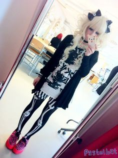 cute goth emo scene black white fashion skeleton bones leggings