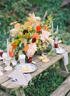 rutsic outdoor wedding centerpieces with candles