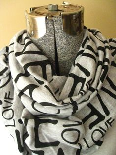 Love Print Heather Gray Infinity Scarf- jersey knit,black,love, letters,heather gray, scarf, circle scarf,fall, winter, free shipping #bestofEtsy #gifts