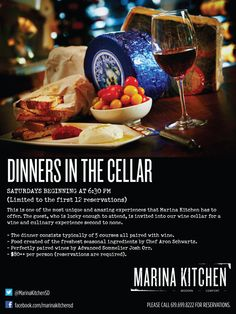 Join us every Saturday for a five course dining experience paired with wines for our Dinners in the Cellar! Reservations are required. #food #dining #sandiego #restaurant