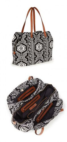 f97e01229e47 Tote bag in black   white tribal print Bolsas Bags