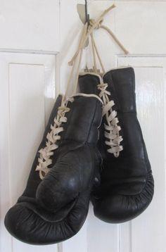 Stoere vintage leren bokshandschoenen, met veters BRYAN