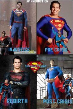 Superman costume versions and variations Superman Characters, Superhero Villains, Comic Book Superheroes, Comic Book Characters, Clark Superman, Superman Man Of Steel, Batman Vs Superman, Dc Comics, Superman Costumes