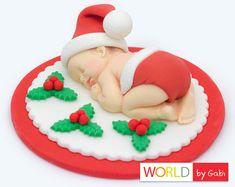 Navidad bebé fondant Santa Baby Cake Toppers Primeros de