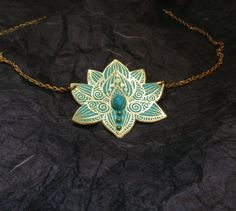 Lotus Necklace  Water Lily Necklace  Brass Flower by spaceweaver, $53.00