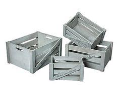 Set de 4 cajas en madera de paulonia Home Sweet Home - gris
