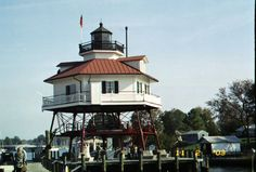 Drum Point Lighthouse, even though it is no longer active and sits on a dock, is a good visit for a lighthouse enthusiast. On Solomon's Island, Maryland, visitors can climb the lighthouse and tour the Keeper's residence area of the lighthouse. The Keeper's residence is well-appointed in period appropriate furnishings.
