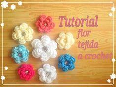 Crochet : Flor Tejida paso a paso. - YouTube