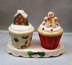 Holiday Gingerbread House & Gingerbread  Man Cupcakes Salt & Pepper Shakers on Tray