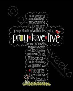 Scripture Art  Pray Love Live Bible verse  by amyleeweeks on Etsy, $20.00