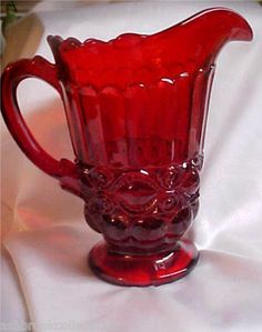 *MOSSER GLASS:   Ruby Red Eye Winker Pitcher
