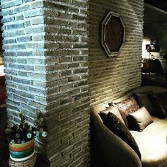 Lounge Feature Wall using Sabbia Brick Slip Cladding