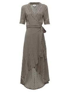 Beautiful Ganni Gingham crepe wrap dress Womens Dresses from top store Dresses For Sale, Nice Dresses, Casual Dresses, Casual Outfits, Fashion Dresses, Dresses For Work, Wrap Dresses, Casual Clothes, Fashion 2018