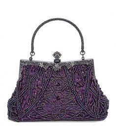 Fashion Vintage Style Handbag Beaded Sequined Evening Bag Wedding Party  Handbag Rhinestone Clutch Purse - Purple - CV186U03SSZ 09e97258c56b9