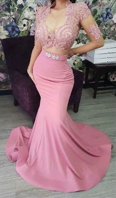 Tight Prom Dresses, Bridesmaid Dresses, Formal Dresses, Party Dresses, Mermaid Skirt, Mermaid Dresses, Pink Two Piece, Dress For You, Evening Dresses