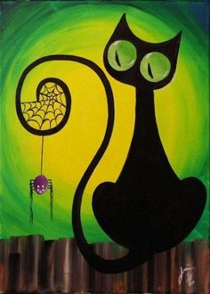 Cat and Spider for Halloween Paint Party (wine and canvas party) Simple Oil Painting, Easy Canvas Painting, Simple Acrylic Paintings, Large Canvas Art, Autumn Painting, Easy Paintings, Diy Painting, Painting Clouds, Painting Classes
